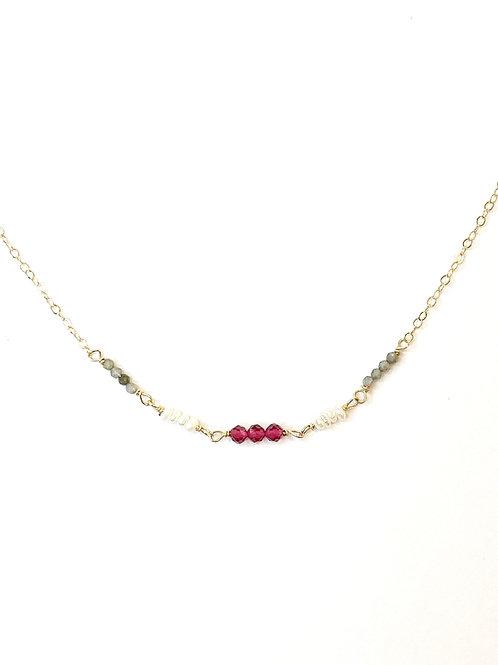 Ruby Quartz Pearl and Labradorite on Gold
