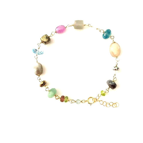 Multi Colored Gemstone Gold Bracelet