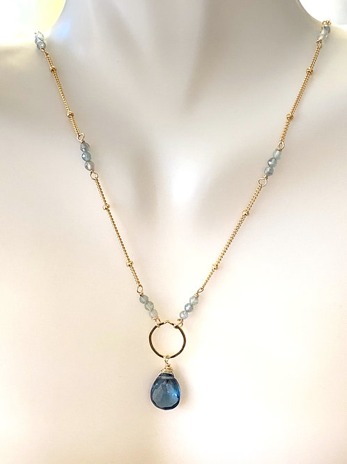London Blue Topaz and Apatite on Gold