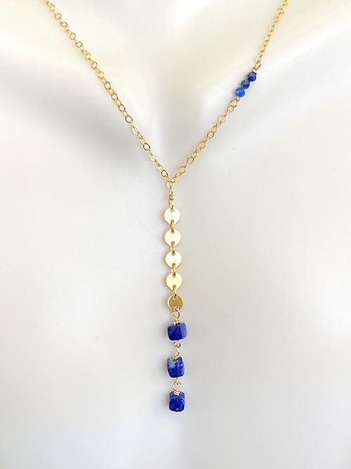Lapis cube asymmetrical 14kt gold fill necklace