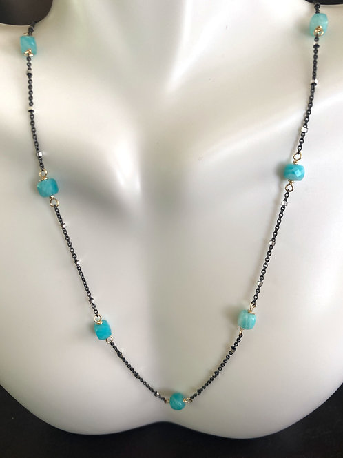 Amazonite cubes on gun metal sterling beaded chain with gold wire wrap