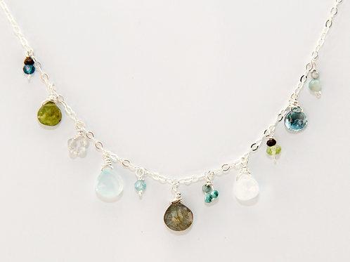 Multi-Gemstone Silver Necklace