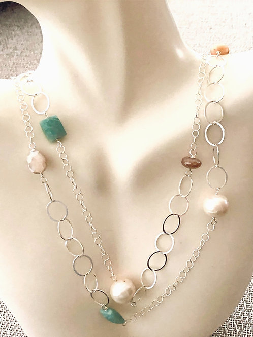 "37"" Long Sterling Necklace with Pearls, Moonstone, Amazonite, and Chalcedony."