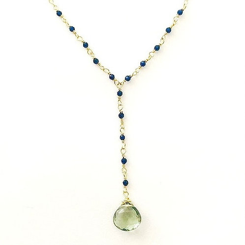 Dark Blue Quartz with Green Amethyst Drop Gold Necklace