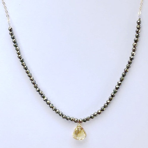 Pyrite with Citrine Drop Gold Necklace