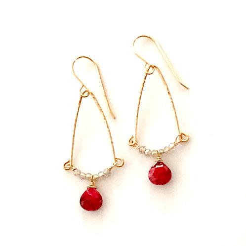 Ruby Earrings in 14kt GF with Labradorite