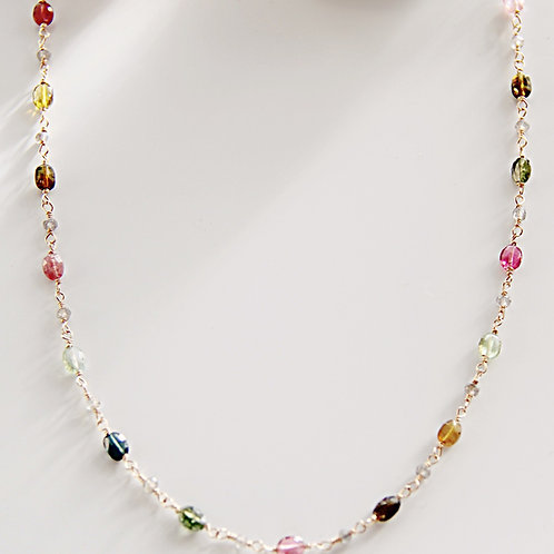 Gold Necklace with Watermelon Tourmaline and Labradorite
