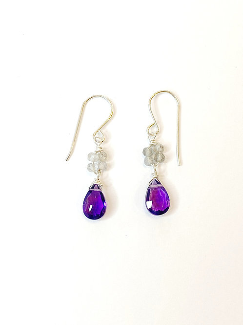 Amethyst with Labradorite on Sterling Silver