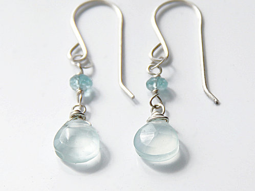Silver Apatite and Chalcedony Earrings