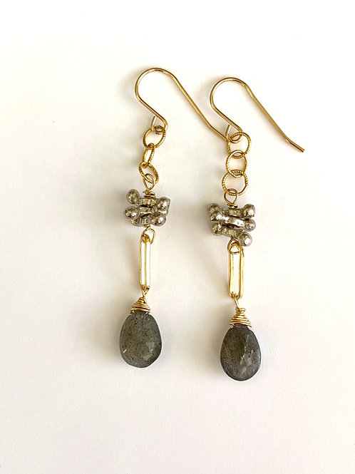 Labradorite drop with sterling silver bars in 14kt gold fill.