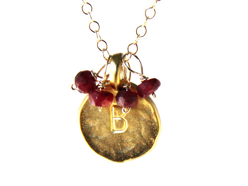Gold Initial Pendant with Rubies