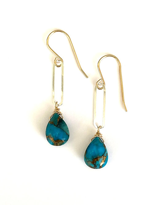 Copper Infused Turquoise on Mixed Metals-Sterling