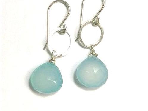 Silver Chalcedony Drop Earrings
