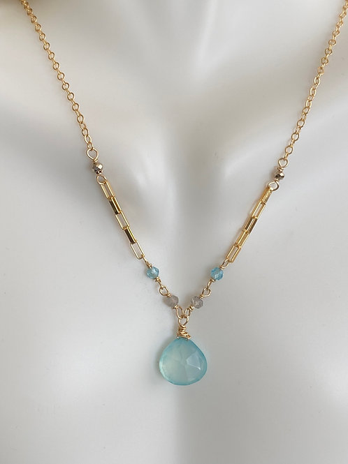 Chalcedony with apatite, labradorite, and pyrite rondelles