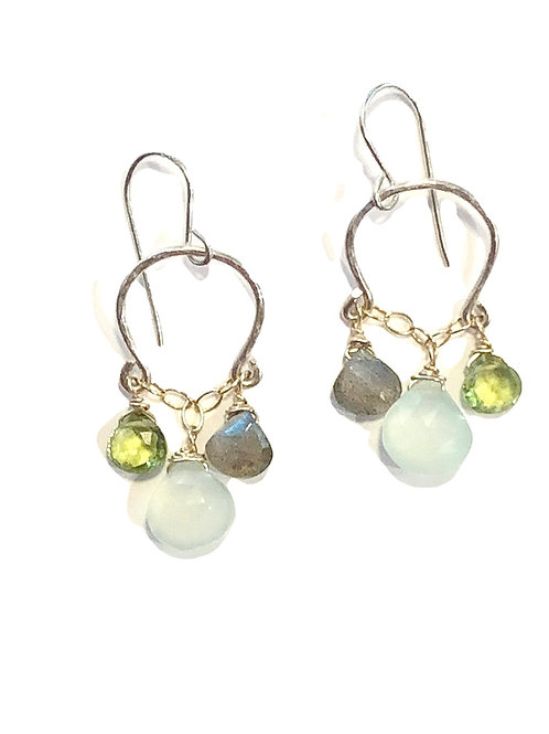 Two Tone Sterling and Gold with Labradorite, Chalcedony, and Peridot