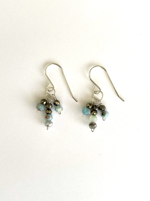 Larimar and pyrite in sterling silver