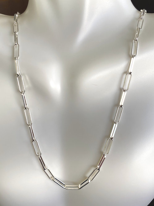 """30"""" Sterling Silver Rectangular Link Chain"""