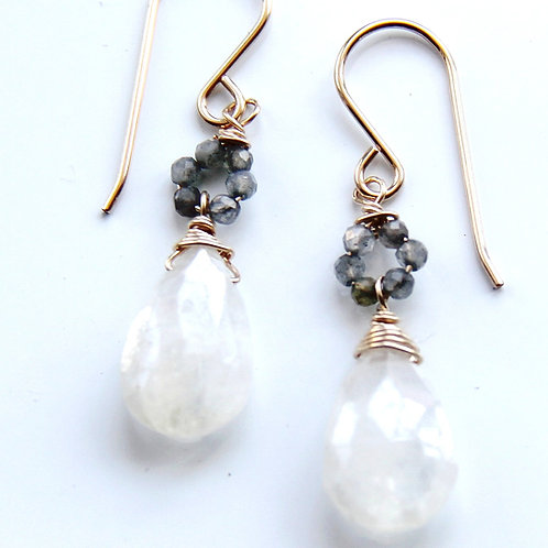 Moonstone and Labradorite Gold Earrings