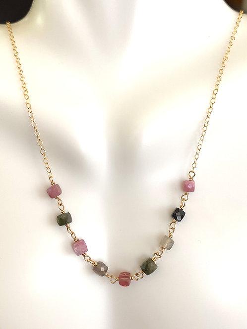 Watermelon tourmaline necklace in  gold