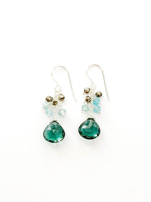 Pyrite, Apatite with 10mm Indicolite Drop Silver Earrings