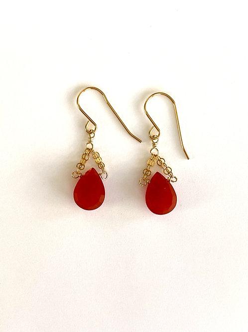 Carnelian on gold earrings
