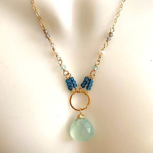 Chalcedony drop with London blue topaz, apatite, pearl and labradorite rondelles