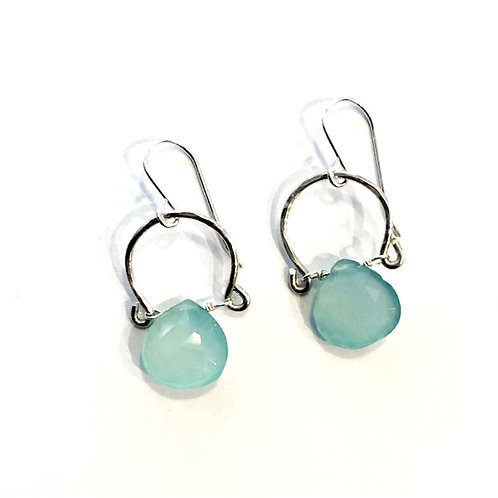 Aqua Chalcedony Sterling on Hand Forged Textured Silver