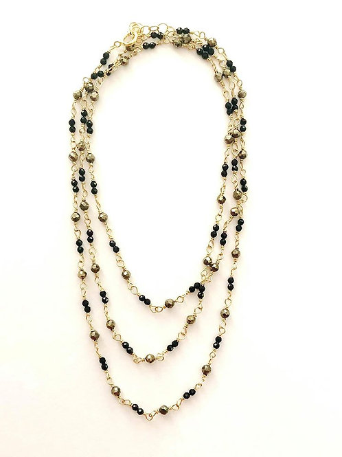 Long Black Spinel with Pyrite Gold Necklace