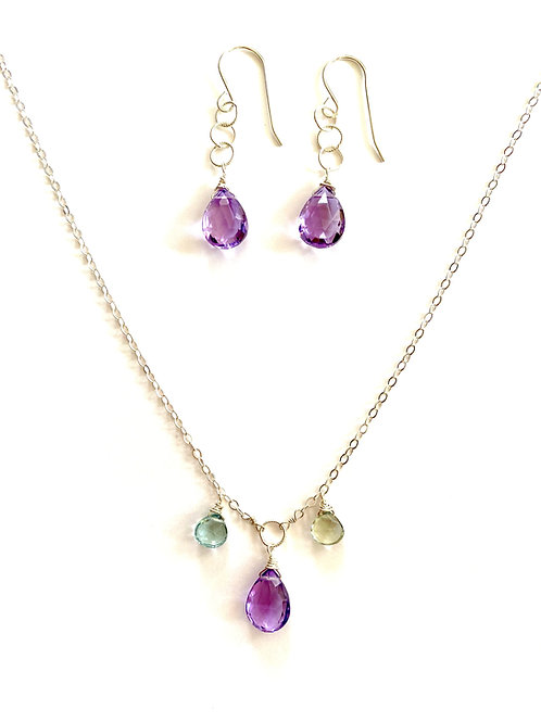 Pink amethyst, green amethyst and blue topaz on sterling silver