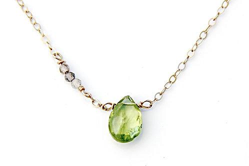 Peridot and Labradorite Asymmetrical Gold Necklace