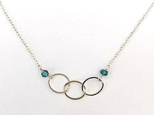London Blue Topaz Silver Three Circle Necklace