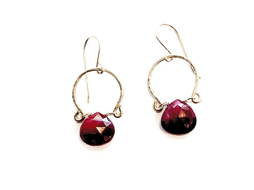 Ruby Earring on Hand Forged Textured Gold