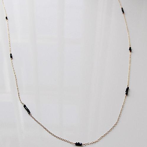 Gold Black Spinel Necklace