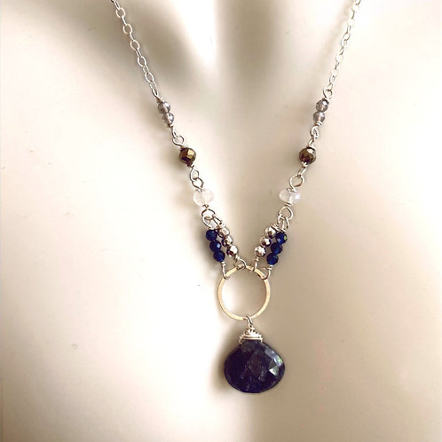 Sapphire drop with labradorite, pyrite, and moonstone rondelles