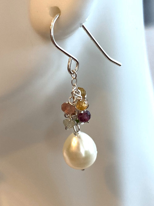 Fresh water pearls with watermelon tourmaline rondelles cascading on sterling si