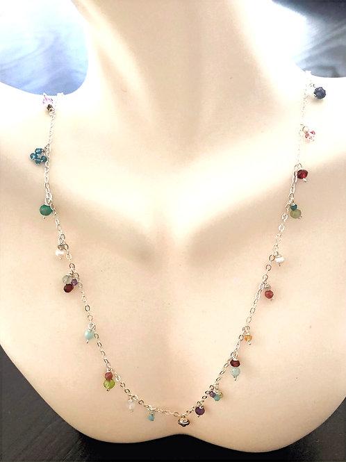 Multi Gemstone Rondelle Sterling Necklace.