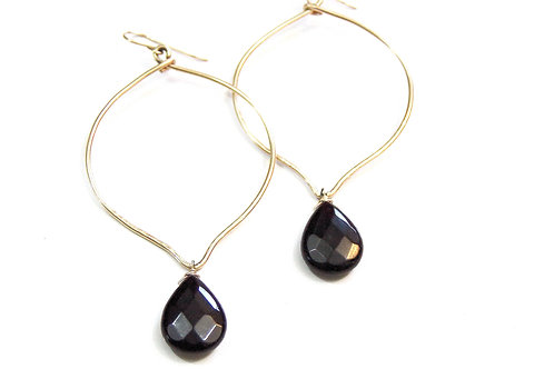 Gold Hoops with Black Onyx