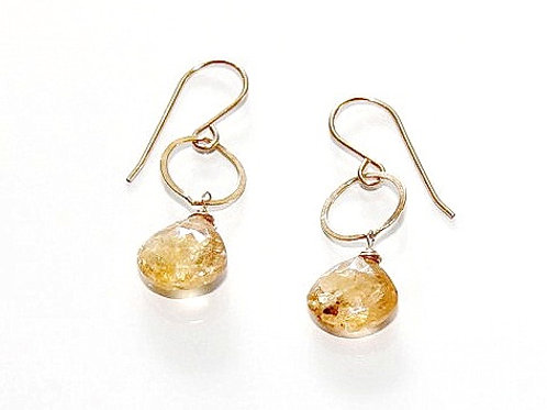 Yellow Imperial Topaz Drops on Gold Circle