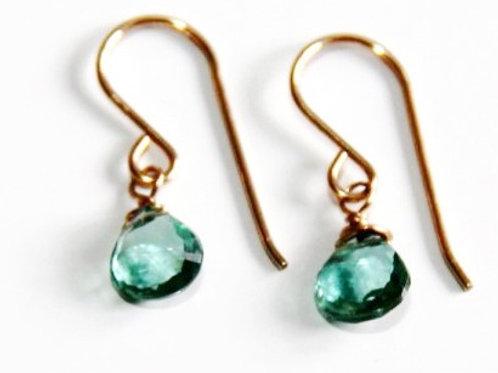 Heart Shaped Indicolite Quartz Gold Earrings
