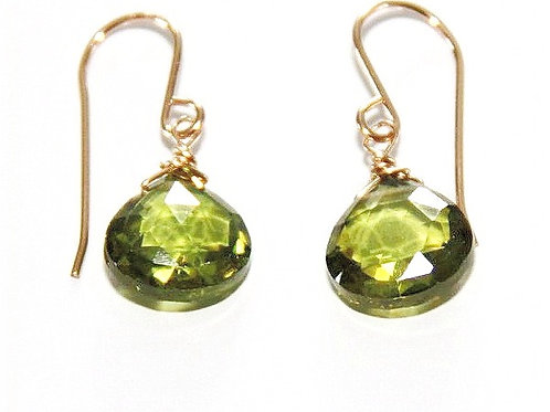 Heart Shape Peridot Gem Gold Earrings