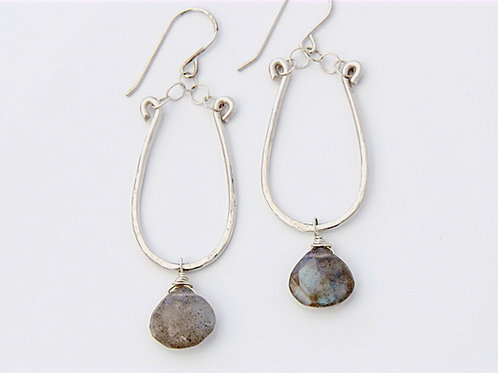Labradorite on Hand Forged and Textured Silver
