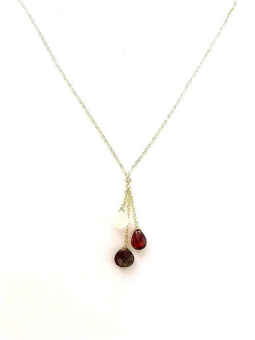 Moonstone, Labradorite, and Garnet Gold Necklace