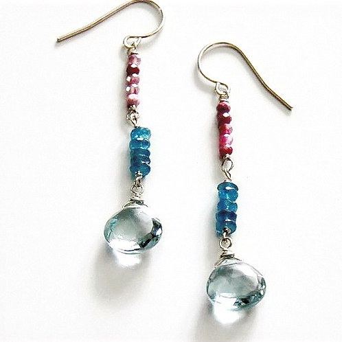 Heart Shaped Blue Topaz with Apatite and Ruby Qrtz on Silver
