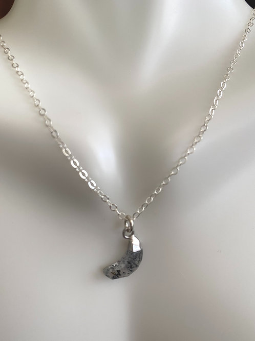 Rutilated quartz mini moon in sterling silver