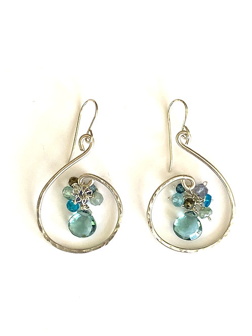 Blue topaz drop with iolite, apatite, aqua marine, amazonite, London blue topaz,
