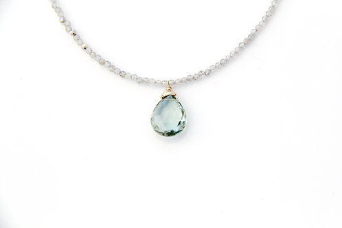 Labradorite with Silver pyrite and Larger 12 mm Green Amethyst Drop