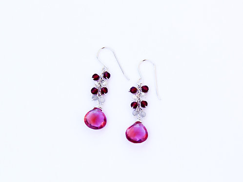 Pink Quartz w Ruby Quartz, Pearl & Apatite Rondelles on Sterling Silver