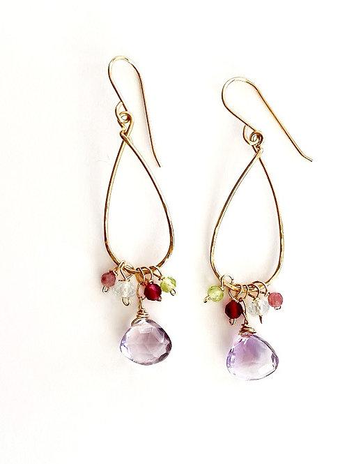 Pink Amethyst Drop with Pink Sapphire, Aqua Marine, Ruby Quartz and Peridot