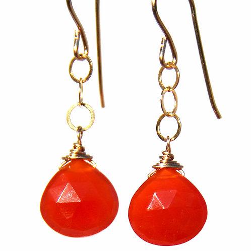 Carnelian Stone Gold Earrings
