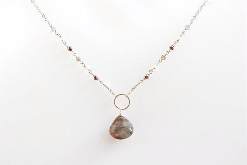 Gold Labradorite, Pyrite, & Pearl Necklace